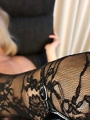 Amazing transsexual Lora posing in tempting stockings