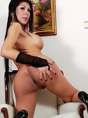 Beautiful brunette Andrea posing her hot body
