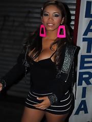Nicole posing with a busty TS slut