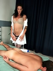 Ts Morgan Bailey seduces massage classmate, teasing his cock first before releasing her 8inches into his ass, fucks him hard, sits on his face & c