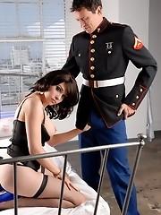 Horny tgirl Sarina Valentina fucking a marine