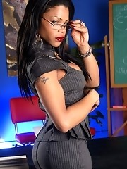 Irresistible TS teacher Sheeba stripping in the class