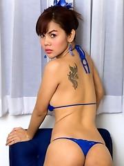 Pop teases her post op pussy in a blue string bikini