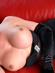 Busty tgirl Mia seducing and showing her hot cock