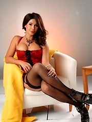 TS sweetheart Vaniity posing in sexy red corset