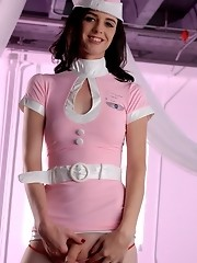 Transsexual flight attendant exposing herself