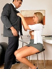 Naughty TS secretary fucked at work